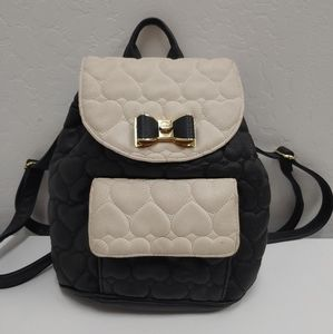 Black and cream Betsey Johnson backpack purse